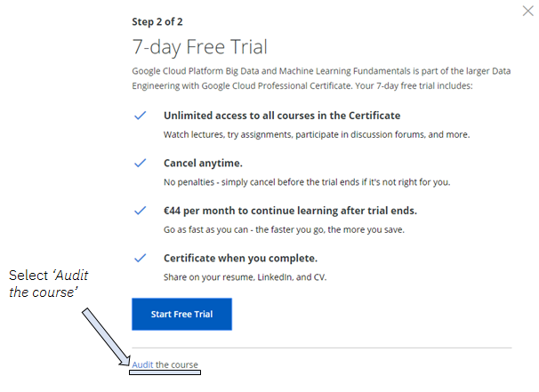how to use coursera free trial